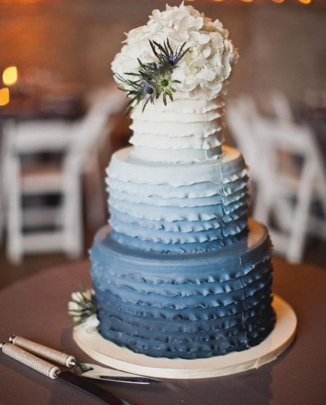 Blue Layered Wedding Cake