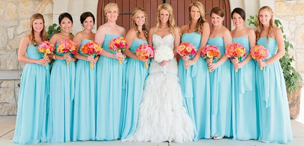 Light Blue Floor Length Bridesmaid Dress